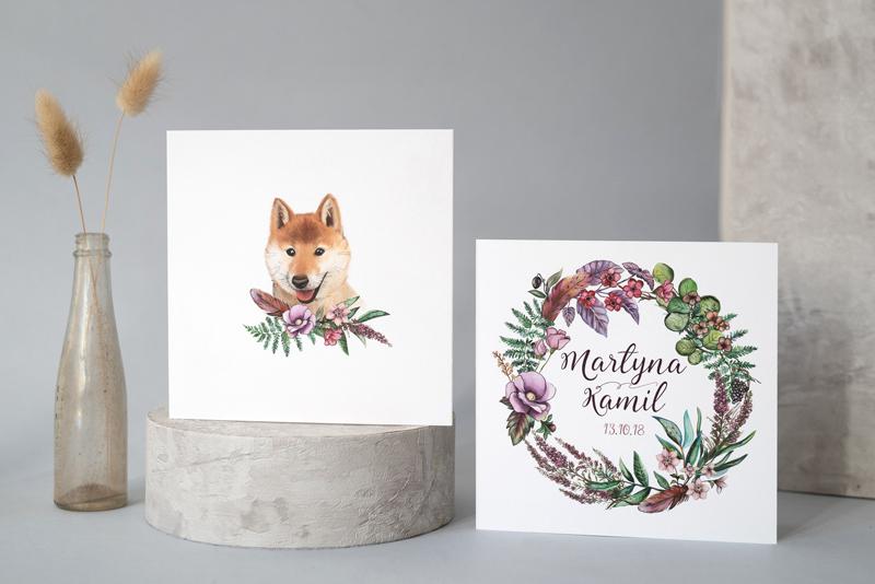 Tył zaproszenia z portretem psa Pary Młodej