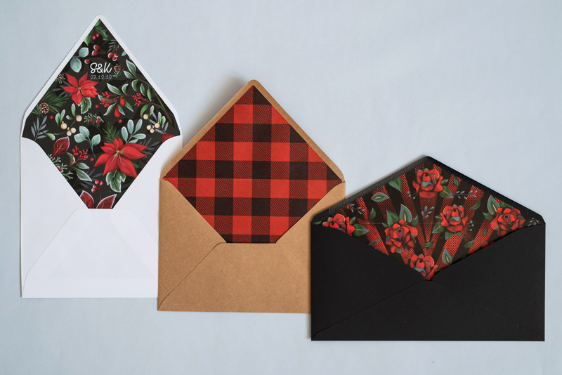 Wyklejki w kopertach o różnych wymiarach